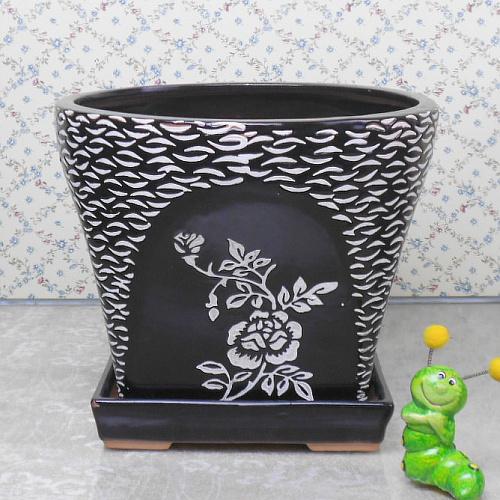 chinese style pot / Black ceramic flowerpot/ flowerpot ceramic / Guiqi gold fashion red love / Rose / with a flowerpot tray(China (Mainland))