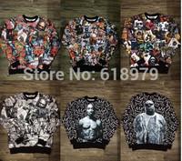 1991 new hip hop hba kanye west bandana mens hoodies and sweatshirt 3D tupac crewneck diamond supply co men urban clothing