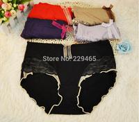 Delicate lace underwear sewing high-grade modal high waist abdomen warming briefs women underwear 5 piecdes/lot high quality