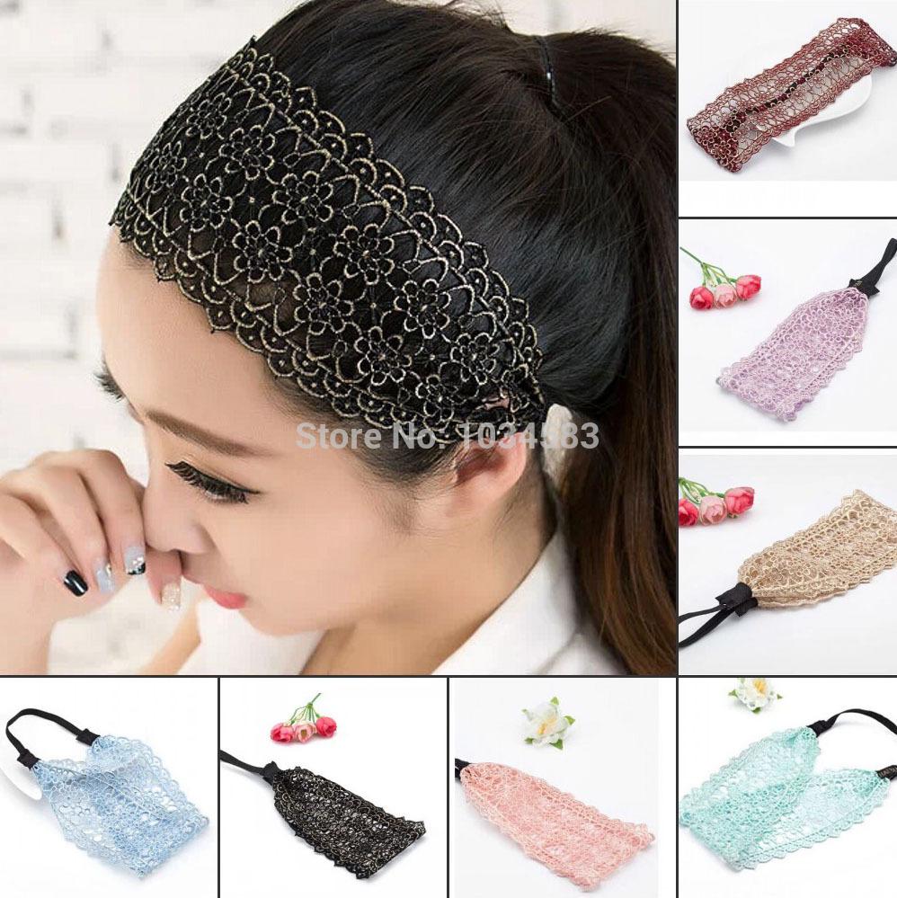NEW Style Women Bandanas Lace Head wrap girls chic turban Hair Band Headband fashion lace headband Free Shipping(China (Mainland))