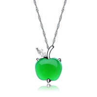 100% Real 925 Sterling Silver Green Chalcedony Apple Shape Pendant with White Gold, 925 Silver Pendant, Top Quality!! (I1154)