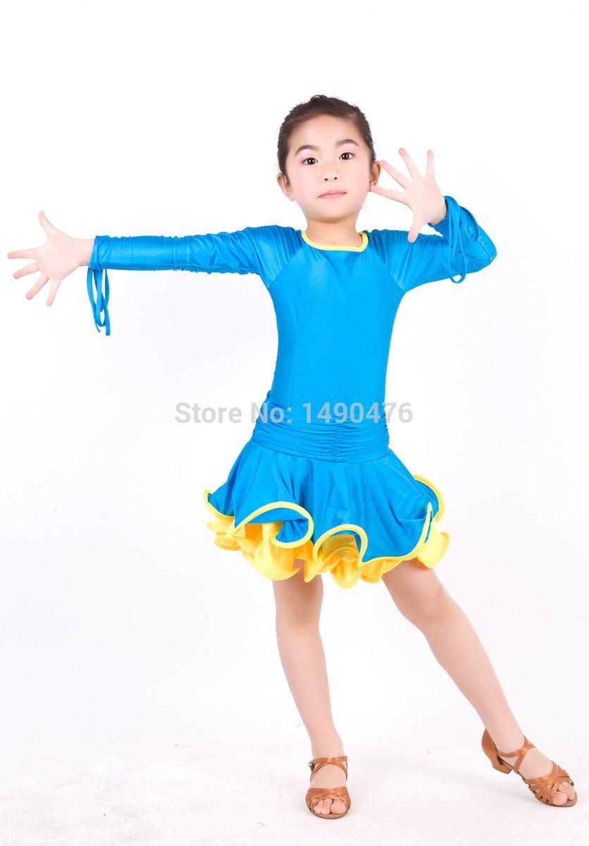 Free Shipping Wholesale 1352 Girls Latin Dance Dress Women Dance Stage Performance Practice Wear Latin Costumes Dresses(China (Mainland))