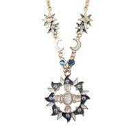 Vintage Women's Stylish Sun Moon Star Opal Crystal Drop Pendant Necklace Fashion Necklaces for Women 2014 Accessories CX194