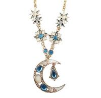 Vintage Women's Stylish Sun Moon Star Opal Crystal Drop Pendant Necklace Fashion Necklaces Bijou Jewelry Display  Salomon CX195