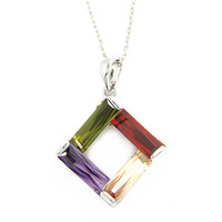 AAA+ 18K Platinum Gold Plated CZ Cubic Zircon Necklaces and Pendants for Women Multicolor CZ Stones Christmas Gift CTN005