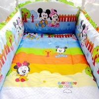 HOT 5 Pcs/sets 100% cotton baby bedding set  curtain crib bumper +filler baby bed bumper optional size