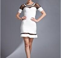 Free Shipping 2014 Ladies sexy Club Party Vestido White Short Sleeve Aline Bandage Dress Elegant Evening Party Dress HL564