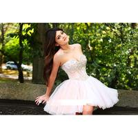 Sexy White Sweetheart Crystal Beaded Ball Gown Mini Graduation Dresses E261