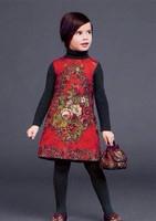 Top Design  New Girls Flowers Dress Sleeveless Thicken jacquard Princess Dress High Quality high-end European and American 3-12T