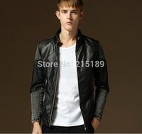 Vintage stylish Jeans denim jacket coat men Casual Mens Leather Patchwork Jeans Jacket Men Slim Denim Jackets