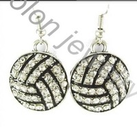 Clear Crystal Round Shaped Zinc Alloy Metal Volleyball Earring Jewelry Sports Fans Club New Product World Cup