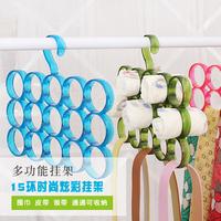 Multifunctional 15 Hole Ring Shawl Scarf Belt Slots Holder Hook Hanger Organizer Clothes Hangers Derlook Collar  Scarf Rack