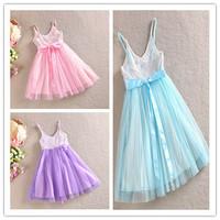 Top On Top wholesale new 2014 spring Autumn New snow Romance sequins Princess Dresses frozen elsa dress with bow tie kids dress