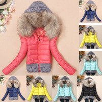 2014 winter autumn new thickening hood short design wadded large fur collar down jacket cotton-padded fur collar outerwear