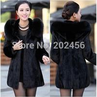 2014 Winter warm Women's Rabbit Fur Coat Fox Fur Collar Medium-long Hooded Fur Coats Plus Size S-XXXL-4XL Overcoat