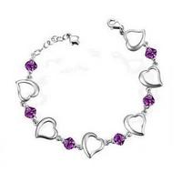 925 sterling silver heart-shaped amethyst bracelets for women wholesale Korean fashion purple crystal silver bracelet jewelry