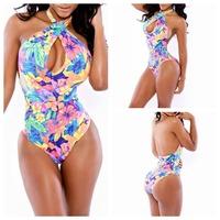 2014 Girl Floral Print Saida De Moda Praia Triangl Biquini Bathing Suit One Piece Swimsuit Sexy Plus Size Swimwear Women M L XL