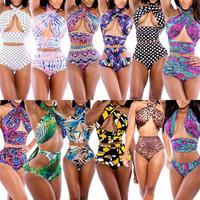 2014 Verao Moda Praia Swimwear Women Sexy High Waist Wrap Front Halter Top Bikini Bandage Push Up Beachwear Monokini Swimsuit XL