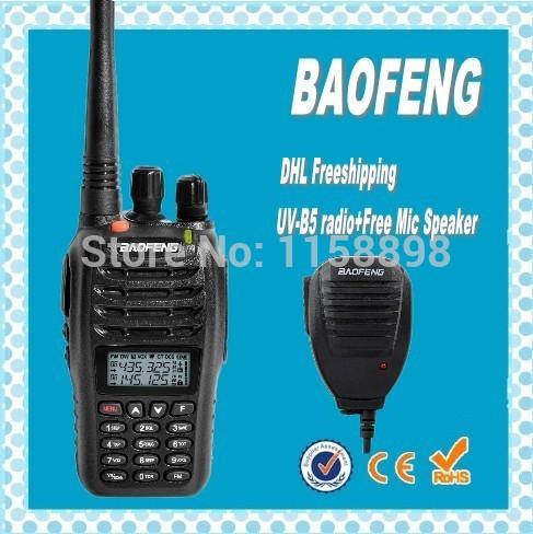 DHL freeship+Baofeng UV-B5 handy talkie radio 5Watt high power dual band vhf uhf frequency midland walkie talkie uvb5+speaker(China (Mainland))