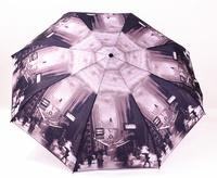 New  Black-And-White Photos Fully Automatic umbrella three folding rain/sun umbrella women and men
