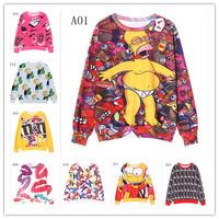 (Alice)free shipping 2014 new style fashion women hoodies whole body printing long sleeve women's 3d sweatshirt 12 model