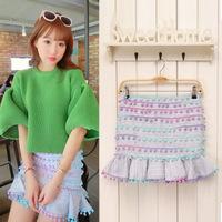 women skirt with 7 colour  balls ruffles hem cotton high waist short  fashion sexy mermaid skirt package hip skirts A491-90