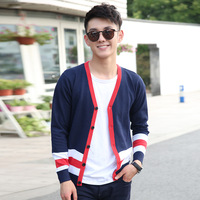 Hot Selling Wholesale 2014 New Casual Men Slim V-neck Sweater Fashion Men Color Block Cardigan sweaters 2 Colors, Free Shipping
