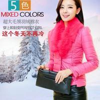 New 2014 autumn winter Office women luxurious fur collor slim down jacket/one-button coat fur coat blazer casual jacket