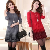 FREE SHIPPING round collar long sleeve pleated splicing dot women long graceful wool dresses