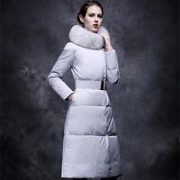New New New 2015 Paris New winter Women luxury Fur Collar Long down coats/female winter fur muffler long parka belt coat