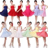 2014 new fashion plus size soild color long wedding dress formal one shoulder chiffon Bridesmaid dresses party dresses gown