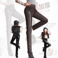 Winter Plus Velvet Thickening Skinny Pant Elastic Waist Trousers Thermal PU Leather Patchwork Pencil Brown Black Corduroy Bottom
