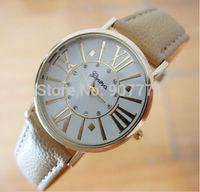 New Geneva Ladies Diamond Roman Numerals Watch Women Men Dress Casual Analog Quartz Wrist Watches PU Leather Hot Sell 2014