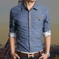 2014 Mens shirts long sleeve Slim fit Unique neckline stylish Dress long Sleeve Shirts Mens dress shirts size: M-XXXL