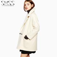 SMSS fashion autumn suit collar pocket buckle medium-long long-sleeve loose woolen outerwear