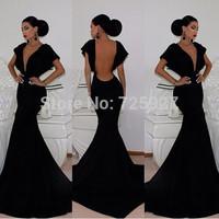 2014 New Backless Sexy Lady Elegant Mermaid Deep V neck Long Evening Dress Woman black casual bandage Dresses Vestidos De Fiesta