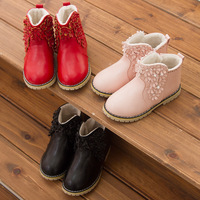 2014 new winter boots Korean children cotton flower Duo Mading girls plus velvet boots warm cotton shoes children 's shoes