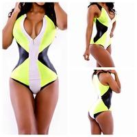 2014 Girl Deep V Neck Geometric Saida De Moda Praia Triangl Biquini Bathing Suit One Piece Swimsuit Sexy Plus Size Swimwear