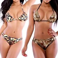 2014 Gold Shinning Vintage Swimwear Spaghetti Strap Print Leopard Sexy Bikini Bodycon Bra Monokini Swimsuit Bikinis Set