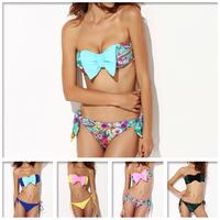 New Women's Bikini Set Playful Bow With Inside Pads Low Waist 5Colors S/M/L/XL Size Cute Swimsuit High quality Retails&Wholesale
