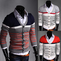 Free shipping autumn Men long-sleeve sweater Colourful high-grade V collar Men's Cardigan Knitwear Male Slim Casual Sweaters