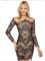 Drop shipping 2014 new style Women dress fashion sexy Lace dress black long sleeve party dress summer dress