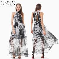 SMSS fashion summer black and white stripe slim waist lacing cutout halter-neck one-piece dress