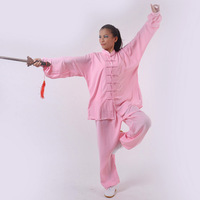 Pink silk tai chi clothing tai chi clothes leotard spring and autumn