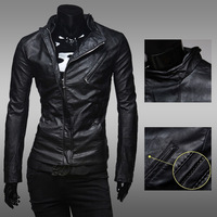 2014 new high quality fashion double zipper Slim collar casual jacket washed leather motorcycle trade