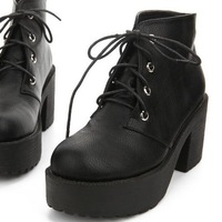 Free shipping 2014 Hot  Arrived Cool Shoe Gothic Lace Up Chunky Heels High Platform Ankle Boots shoes Motorcycle Boot Eur 35-39