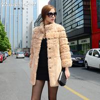 For 11.11 Free shipping! 2014 new 11.11 hot sell rex rabbit fur women's slim medium-long fur coat with sheep fur  stand collar