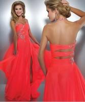 Vestidos De Fiesta 2014 New Coral Evening Dress Halter Crystal Chiffon Women's Pageant Front Slit Sexy Prom Dress Long