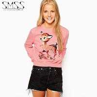 SMSS fashion ss butterfly flower print o-neck slim pullover rib knitting sweatshirt