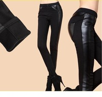 Sexy Women Faux Leather Stretch High Waist Slim Pants Plus Velvet Tights Street Style Ladies Thick Warm Tights Cheap Pencil Pant